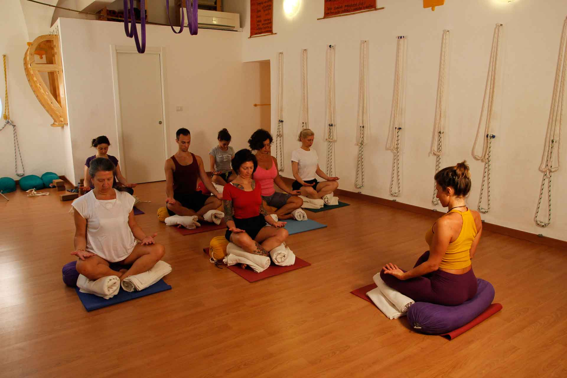 Pranayama and meditation Yoga Course in our school in Genoa